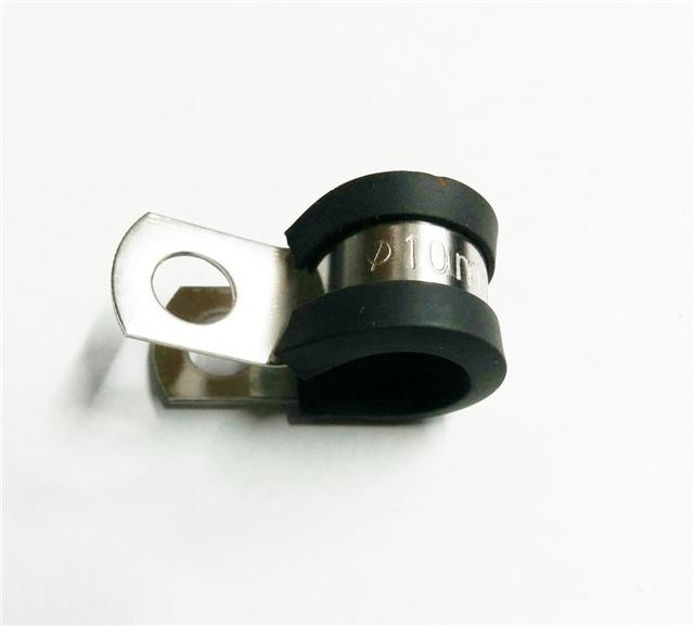 25 Marine Grade Stainless Steel Rubber-Lined P-Clip 16mm Hose Pipe Clamp M6 Hole